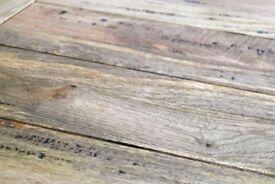 Hardwood Extending Leaf Extendable Rustic Farmhouse Dining Kitchen Table - Seats 6-12