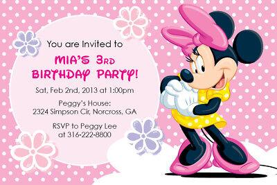 Custom Minnie Mouse Birthday Invitations (Disney Minnie Mouse Custom Birthday Party Baby Shower Girl Invitation)