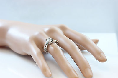 GIA I-SI1 18k Whtie Gold Cushion Cut Diamond Engagement Ring And Band 2.20ctw 9