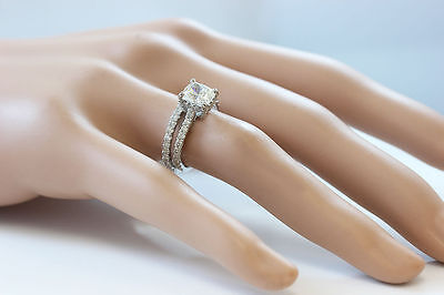 GIA I-SI1 18k Whtie Gold Cushion Cut Diamond Engagement Ring And Band 2.20ctw 10