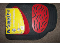 RED PERFORMANCE CAR MATS--RUBBER AND CARPET--NEW