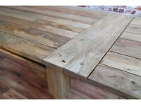 Extending Reclaimed Hardwood Farmhouse Dining Table Natural Finish
