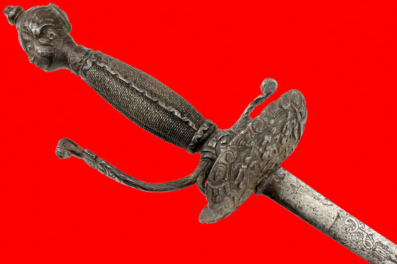 Rare and Fine Early 17th C. Dutch or Italian Chiseled Steel Hilted Rapier Sword