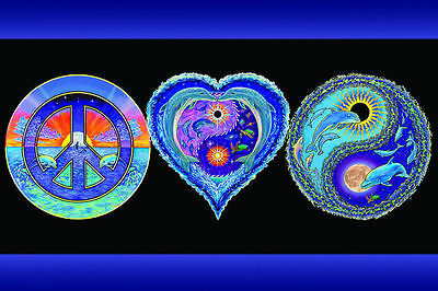 PEACE LOVE & HAPPINESS - BLACKLIGHT POSTER - 24X36 PSYCHEDELIC DOLPHINS 415