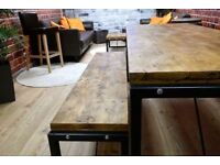 Industrial Reclaimed Wood Steel Metal Kitchen Dining Table Bench Set Various & Bespoke Sizes