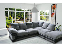 FOOTSTOOL INCLUDED - BRAND NEW - DINO SOFA IN JUMBO CORD FABRIC - CORNER SOFA ON WHOLESALE PRICE