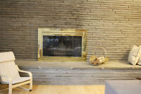 fireplace gold glass cover