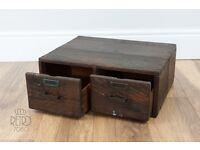 Vintage 2 Drawer Wood Library Card File Box Index File Oak Dovetail Cabinet