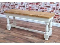 Rustic Farmhouse Style Reclaimed Solid Pine Bench Backed Pew Dining Table Hall Bench
