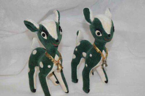 Vintage Reindeer Stuffed Red & Green Velvet/Felt Christmas 3 piece Japan