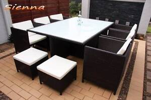 Chocolate Brown 10 x Seater Wicker Outdoor Dining Setting Tuggerah Wyong Area Preview