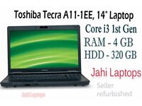 """Toshiba Tecra A11-1EE, 14"""" Laptop, Core i3 1st Gen,4 GB Ram,320GB HDD Win7 -0547 Email"""