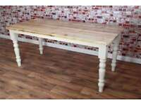3ft - 8ft Solid Pine dining Kitchen Table Made Reclaimed Timber Wood Farmhouse Rustic Style Scub Top