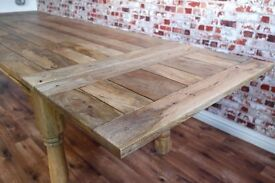 Rustic Hardwood Extending Mango Farmhouse Dining Table - To Seat 6 - 12 people