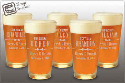 Qty 5 Pint Beer Glasses Groomsman Gift Engraved Personali...