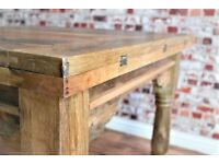 Folding Extending Hardwood Rustic Reclaimed Kitchen Dining Table - Delivery Available