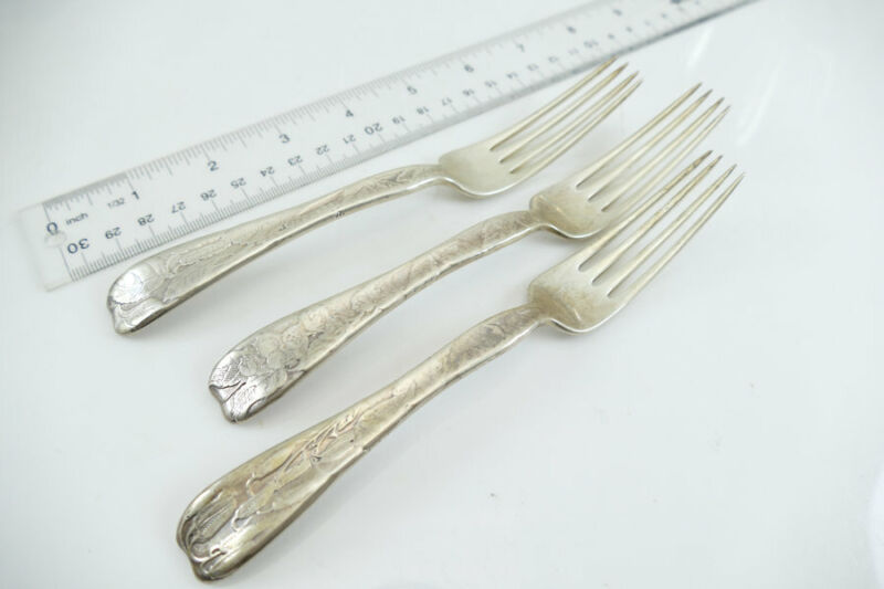 Fine Sterling Tiffany & Co. Lap Over Edge Etched Pattern Set Dinner Forks (3)
