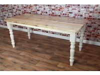 8ft Scrub-Top Stripped Pine Reclaimed Wood Kitchen Dining Table Rustic Farmhouse Style