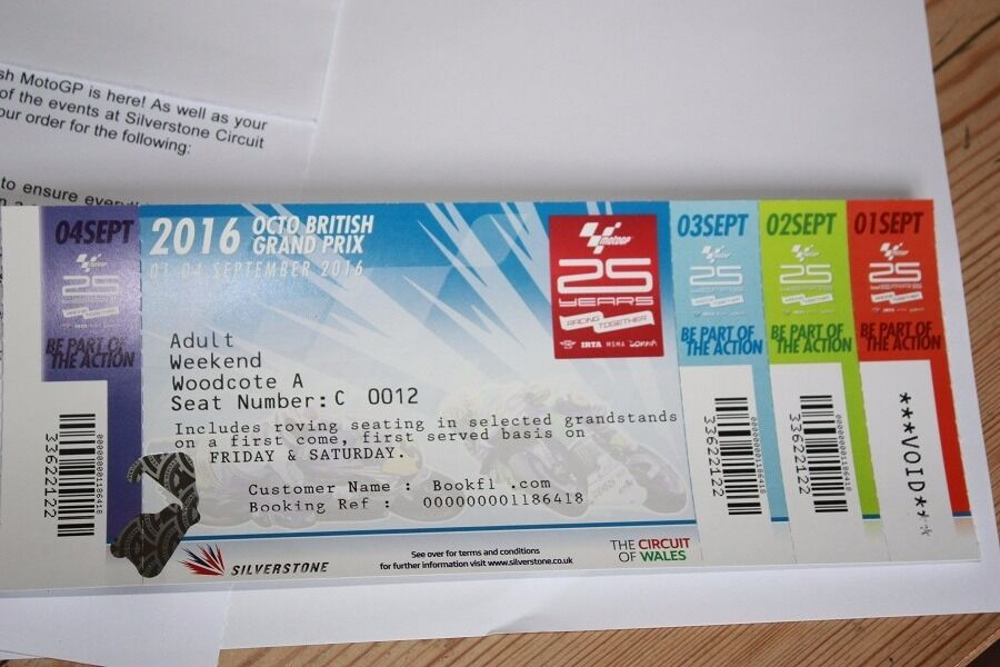 Silverstone British MotoGP Weekend ticket for area Woodcote A   in ...