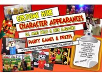 Character Mascots Costume Hire Kids Disco Parties (Minion Turtles Frozen Paw Patrol Peppa + more)