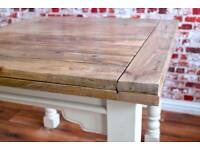 Extendable Rustic Dining Hardwood Table Country / Farmhouse Dining Table - Space Saving Design