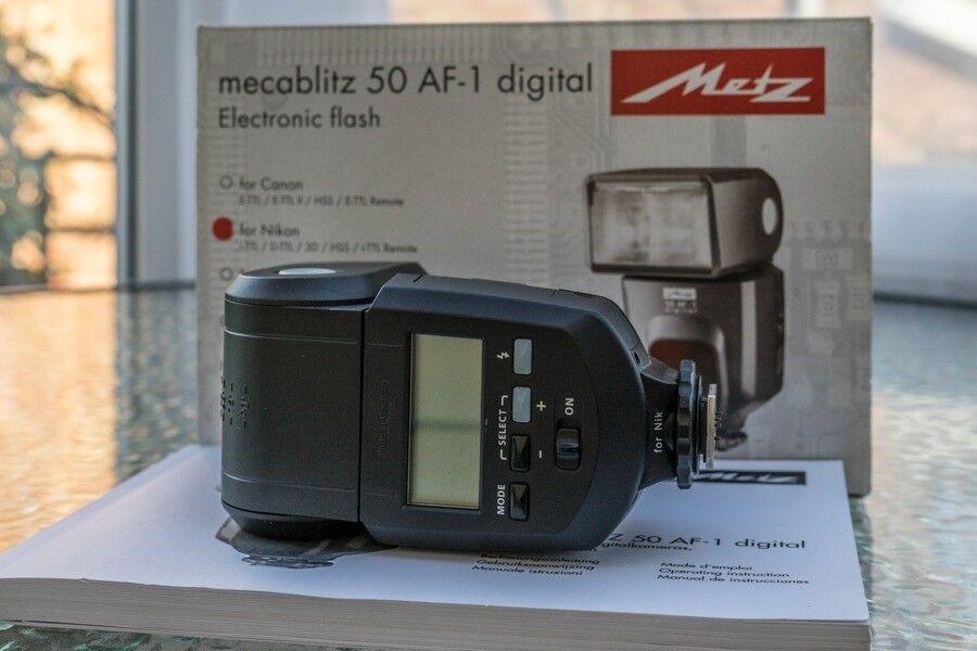 Metz mecablitz 50 af-1 shoe mount flash for nikon for sale online.