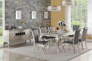 Spectacular 7 Pc Rectangular Table in Silver Grey Finish, Features Crystal Detailing on Grey Upholstered Chairs (GL1116)