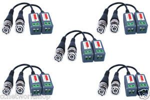 10 (5 Pairs) x CCTV Video Balun BNC Plug to Cat 5 Cable Adapter Passive UK Stock