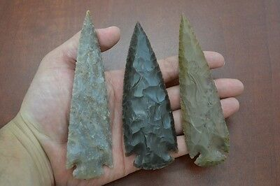 "3 PCS ASSORT AGATE STONE SPEARHEAD ARROWHEAD POINT 4 1/2"" - 5"" #T-1349"