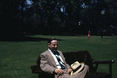 1950s Mens Suits & Sport Coats   50s Suits & Blazers Kodak Slide 1950s Red Border Kodachrome Man in Suit and Hat Sitting in Park $18.99 AT vintagedancer.com