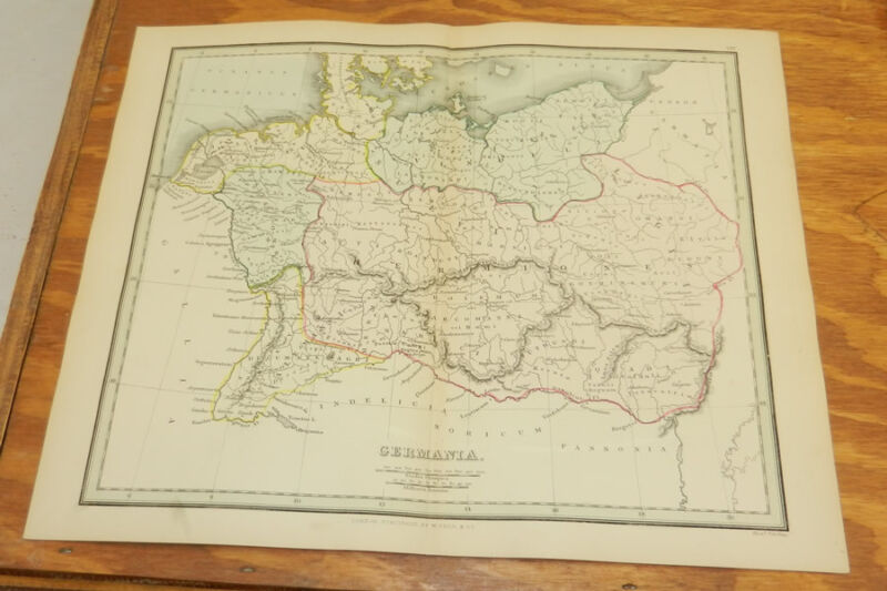 1853 Antique COLOR Map, Ancient Geography/ GERMANY /Findlay