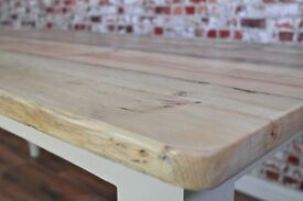 Solid Pine dining Kitchen Table Made Reclaimed Timber Wood Farmhouse Rustic Style Scub Top