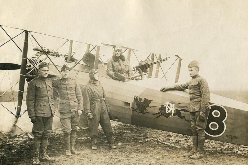 U.S. AIR CREW WITH FRENCH SALMSON BIPLANE WWI 8x12 SILVER HALIDE PHOTO PRINT