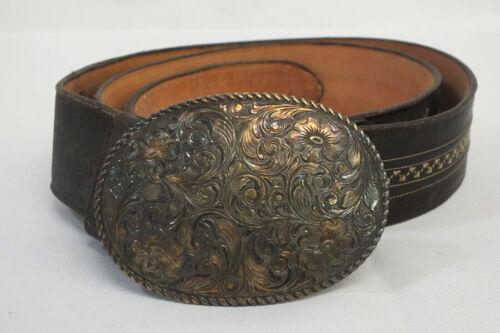 Vtg San Carlos Crumrine Sterling 22k Gold Western Scroll Buckle Lucchese Belt 42