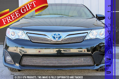 GTG 2012 - 2014 Toyota Camry LE 4PC Black and Chrome Combo Mesh Grille Grill Kit