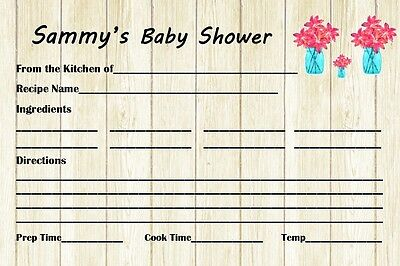 14 Personalized -Baby Shower Recipe Cards - Baby Shower Game - Party Games