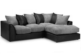 **7-Day Money Back Guarantee!!**- Byron Jumbo Cord Corner Sofa Suite - SAME/NEXT DAY DELIVERY