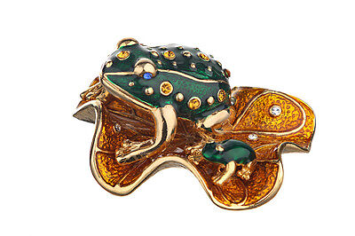 Used, Decorative Enamel Faberge Figurine Two Frogs with crystals 1'' x 1.9'' x 1.5'' for sale  Shipping to United States