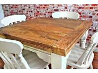 Extending Rustic Oak Style Farmhouse Dining Table Set-Drop Leaf Painted in Farrow & Ball - Brand New