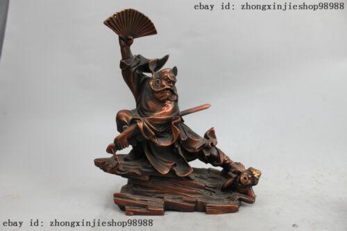 9 China Refining bronze Zhong Kui ChungKuel Catch Devil immortal Buddha Statue