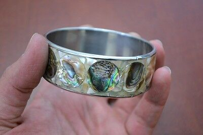(GOLDEN MOTHER OF PEARL AND ABALONE SHELL STAINLESS STEEL BANGLE BRACELET T-1337)