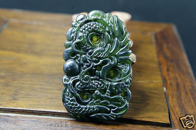 Chinese natural dark green jade carved dragon jade pendant