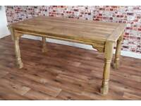 Extendable Rustic Farmhouse Dining Table Natural Hardwood Finish - Seats up to 12