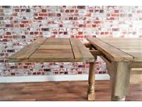 Rustic Reclaimed Kitchen Folding Extending Hardwood Dining Table Seats up to 12 - Delivery Available