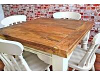 Extending Oak Style Rustic Farmhouse Dining Table Set-Drop Leaf Painted in Farrow & Ball - Brand New