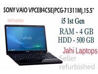 """SONY VAIO VPCEB4C5E(PCG-71311M),15.5"""" ,i5 1st Gen,4GB RAM,500GB HDD,WIN 7"""