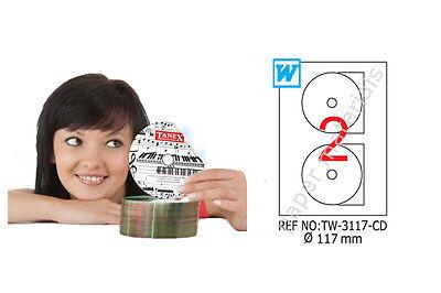 TANEX TW-3117 DVD-/CD-/Blu-ray Multimedia-Etiketten 117mm weiß 10-500 Bl. A4