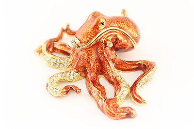 Octopus Jewelry Trinket Box Decorative Collectible Enamel Sea Ocean Gift 02031