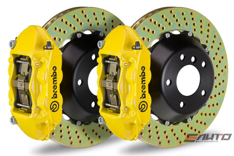 Brembo Front Gt Brake P Caliper Yellow 365x29 Drill Disc Lancer Ralliart Gts 09+