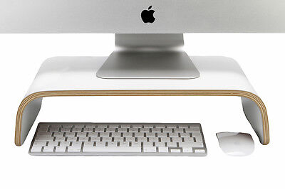 Desk Monitor Stand -White, curved plywood , perfect for iMac and PC